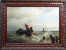 CIRCLE OF CHARLES NAPIER HEMY RA RWS (British, 1841-1917) oil on canvas - fisherman pulling in a