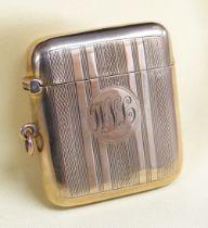 GEORGE V 9CT GOLD VESTA CASE of square shape, engine turned, engraved initials 'W. N. L.',