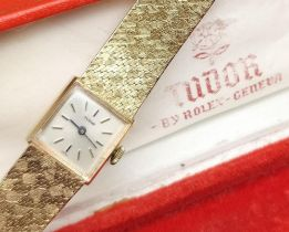TUDOR FOR ROLEX 9CT GOLD LADIES WRISTWATCH, the square champagne dial having baton markers, engraved