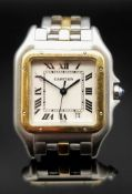 CARTIER PANTHERE BI-METAL WRISTWATCH, in stainless steel and yellow gold, square dial with Roman