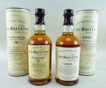 TWO EXPRESSIONS FROM THE BALVENIE DISTILLERY BANFFSHIRE SCOTLAND, comprising 1993 single malt scotch