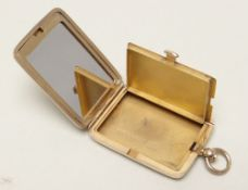 GEORGE V ASPREY 9CT GOLD COMPACT / PILL BOX of rectangular form, engine turned with initials to
