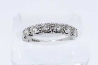 18CT WHITE GOLD SEVEN STONE DIAMOND RING, total diamond weight 1.0cts approx. (visual estimate),