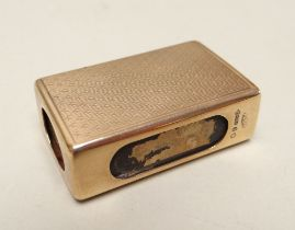 GEORGE V 9CT GOLD MATCH BOX HOLDER of rectangular form, engine turned, housing a vintage 'Bryant &