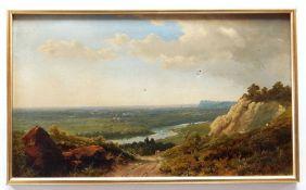 EDMUND JOHN NIEMANN (British, 1813-1876) oil on canvas - view of the Cheshire Plain, extensive
