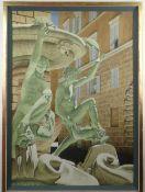 ROBERT LOUIS BANKS (British, 1911-2000) large watercolour - 'Fortana Delle Tartarughe', label
