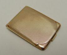 GEORGE V ASPREY 9CT GOLD MATCH / VESTA CASE, of rectangular form, engine turned, hinge opening,