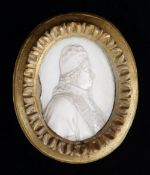 ITALIAN IVORY PORTRAIT MEDALLION OF POPE CLEMENT XI (1649-1721), 18th Century, carved in low