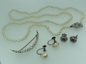 PEARL JEWELLERY, 3 ITEMS and a pair of sapphire set floral earrings to include a single strand