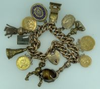9CT GOLD CHARM BRACELET WITH 15CT GOLD PADLOCK CLASP & 13 CHARMS including a folded up one pound