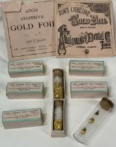 ASH'S COHESIVE DENTAL GOLD CYLINDERS & FOIL, A QUANTITY - approximately 8grms to include seven