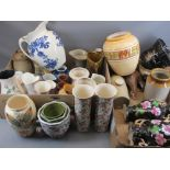 STAFFORDSHIRE VASES, EARTHENWARE CONTAINERS and a large assortment of other pottery and china ware