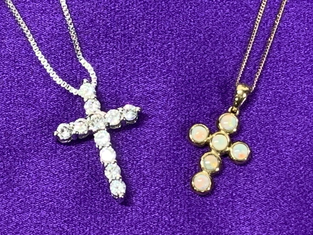 OPAL SET 9CT GOLD CROSS & NECKLACE and a paste set sterling silver cross and necklace, 1.75 and 2. - Image 3 of 4
