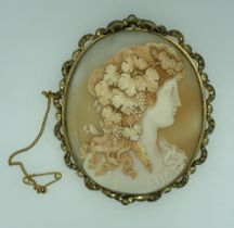 LARGE VICTORIAN CAMEO BROOCH, 7 x 5.75cms, mounted in pinchbeck, possibly depicting one of the