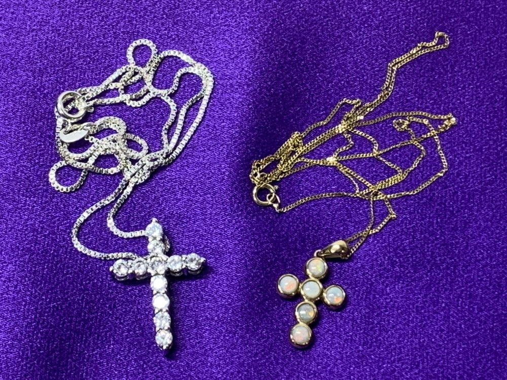 OPAL SET 9CT GOLD CROSS & NECKLACE and a paste set sterling silver cross and necklace, 1.75 and 2. - Image 4 of 4