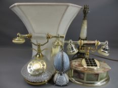 ORNAMENTAL TELEPHONES, onyx and brass table lamp and a 'Heirloom porcelain music egg collection'
