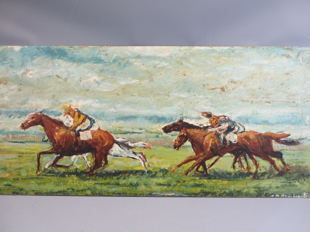 ALAN MACKAY acrylics on board (2) - horse racing scenes, both signed and dated '71 and '75, 45 x - Image 3 of 3