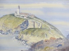 GWYNETH RYDER watercolour - South Stack Lighthouse, 32 x 51cms
