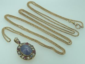 ELIZABETHAN STYLE LOCKET and a 9ct gold muff chain, the locket reportedly fashioned by Liberty,