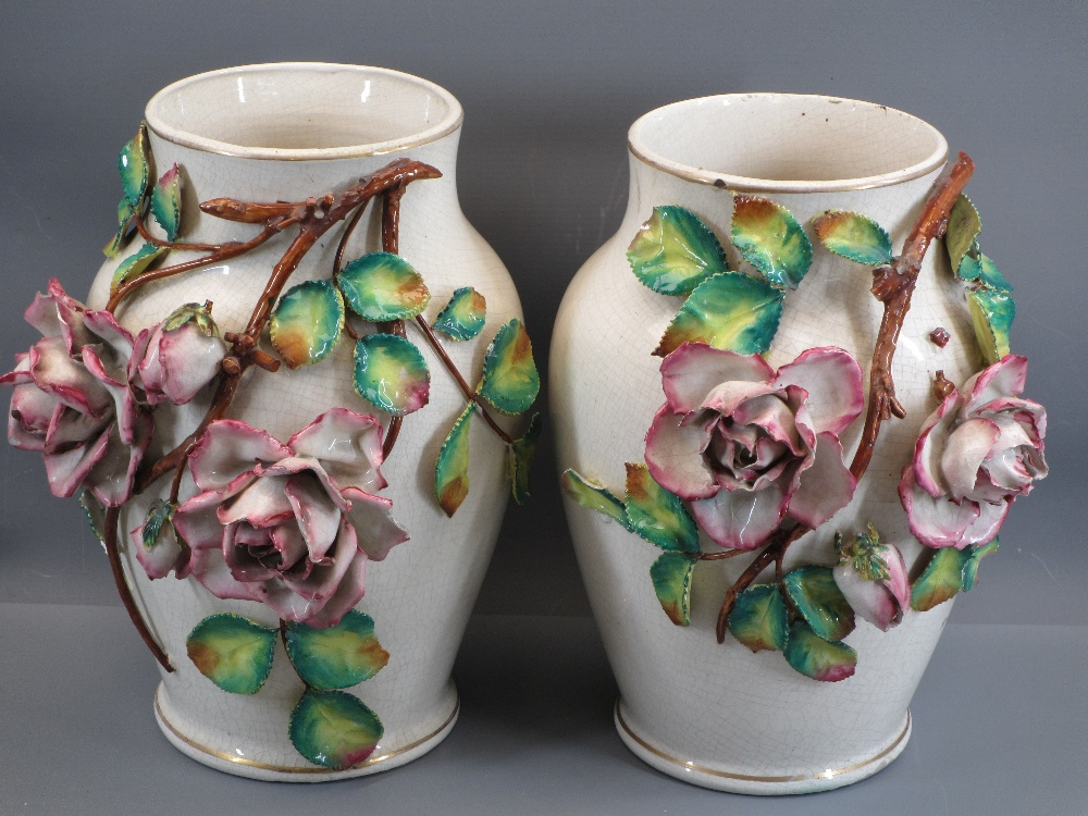 VICTORIAN JUG & BASIN SETS, a pair of Majolica type vases, 31cms tall, ETC - Image 2 of 4