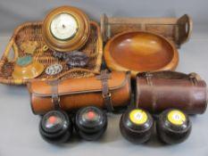 TREEN - walnut sliding bookrack, wall barometer, wicker basket, two sets of cased bowls, ETC