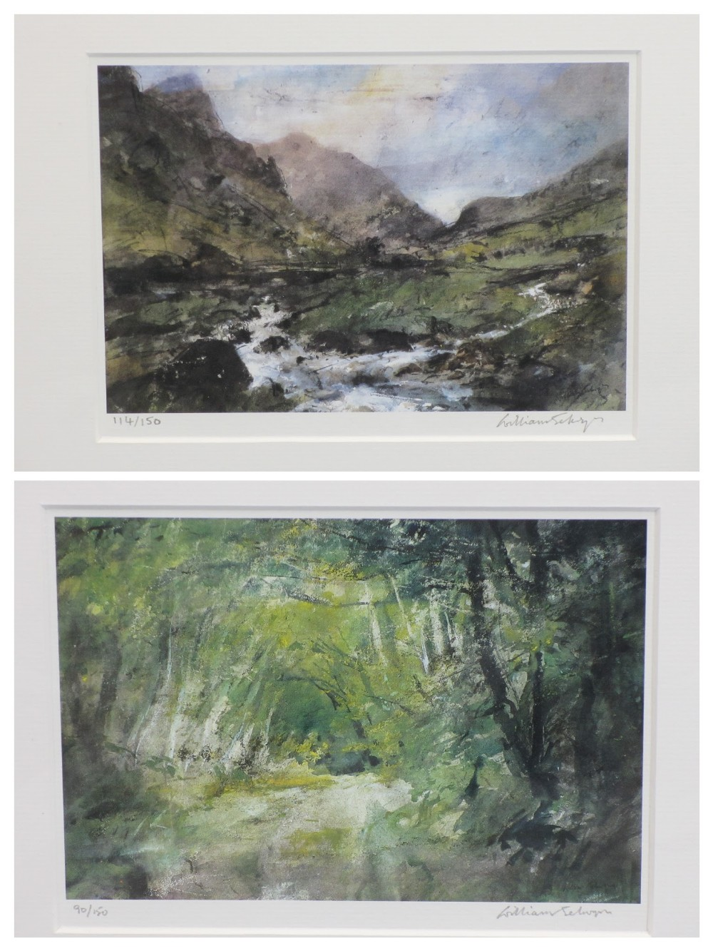 WILLIAM SELWYN limited edition prints (2) 115/150 and 89/150 - Snowdonia and a leafy lane scene,