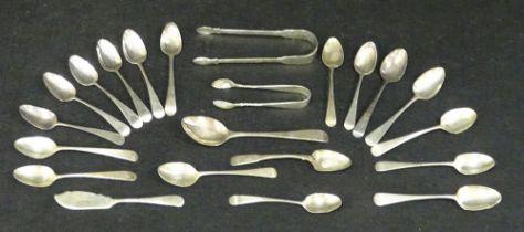 SILVER PETER & WILLIAM BATEMAN SUGAR TONGS, GEORGE III 1811, 18 teaspoons similar period, various