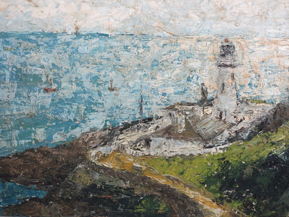 INDISTINCTLY SIGNED acrylics on board (2) - Impressionistic coastal views, 46 x 81cms and 46 x - Image 3 of 3