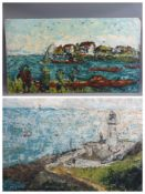 INDISTINCTLY SIGNED acrylics on board (2) - Impressionistic coastal views, 46 x 81cms and 46 x