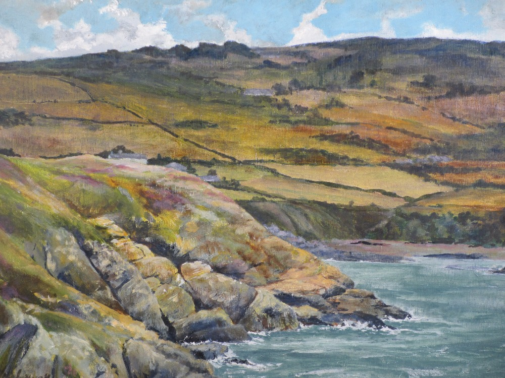 VAL LYNCH oils on board (2) - 'Off Point Lynas Anglesey', labelled verso, 50 x 39cms and 'From - Image 2 of 3