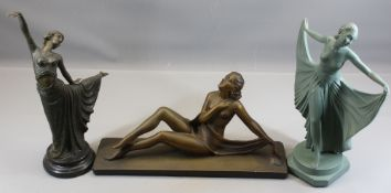 ART DECO FIGURINES (3) - a bronze dancing figure on a marble plinth After Dimitri Chiparus, bears