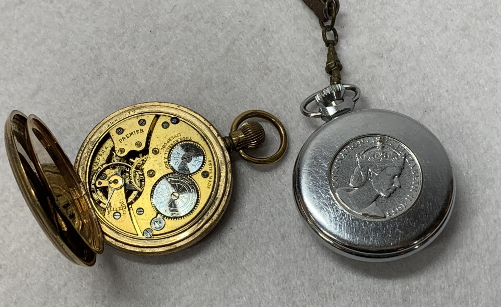 THOMAS RUSSELL & SON & SMITHS EMPIRE POCKET WATCHES, white metal cigar piercer, cigarette case, - Image 2 of 2