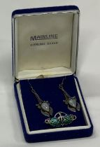 ARTS & CRAFTS TYPE JEWELLERY, 2 ITEMS - a silver and enamel leaf brooch, stamped silver with
