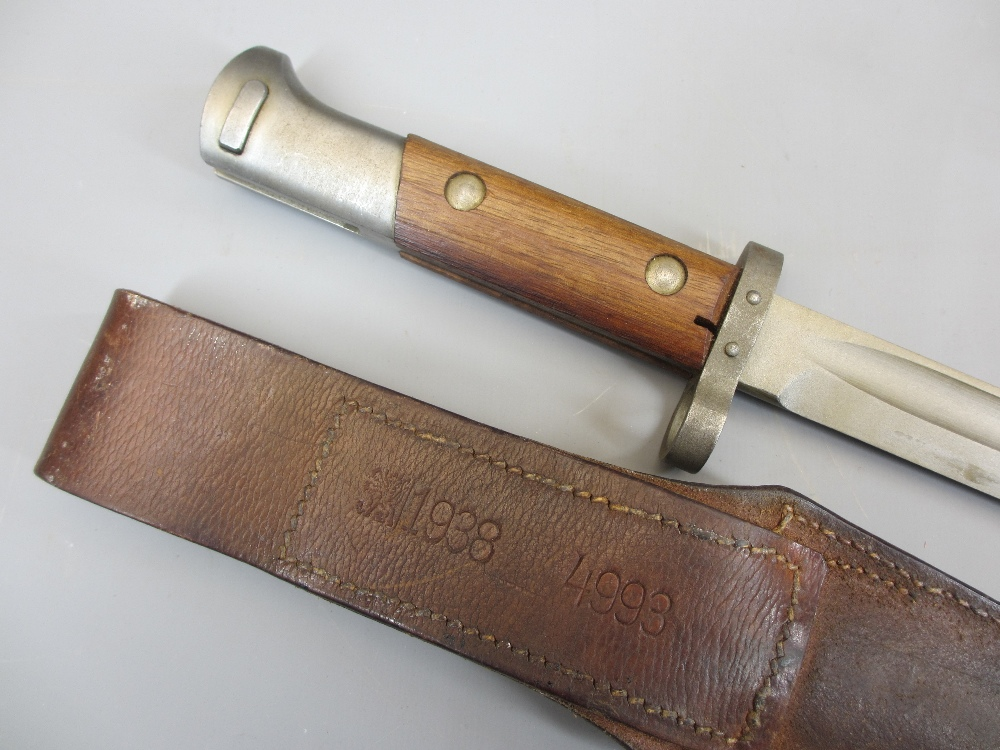 BAYONET COLLECTION (6), two leather belts and a vintage leather and wooden holster (part missing), - Image 5 of 5