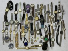 LADY'S & GENT'S WRISTWATCHES, a mixed quantity, two six penny pieces and a costume jewellery brooch,