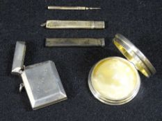 SILVER - SMALL, 4 ITEMS and a white metal toothpick to include a vesta case inscribed '14th February