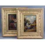 ENGLISH SCHOOL oil on canvas (2) - genre scenes, in ornate frames, 22 x 16cms