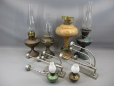 VINTAGE OIL LAMPS, modern white metal wall mount candle sconces and a turned wooden electric lamp