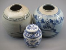 CHINESE GINGER JARS - two with no lids, 16cms the tallest and a later lidded vase