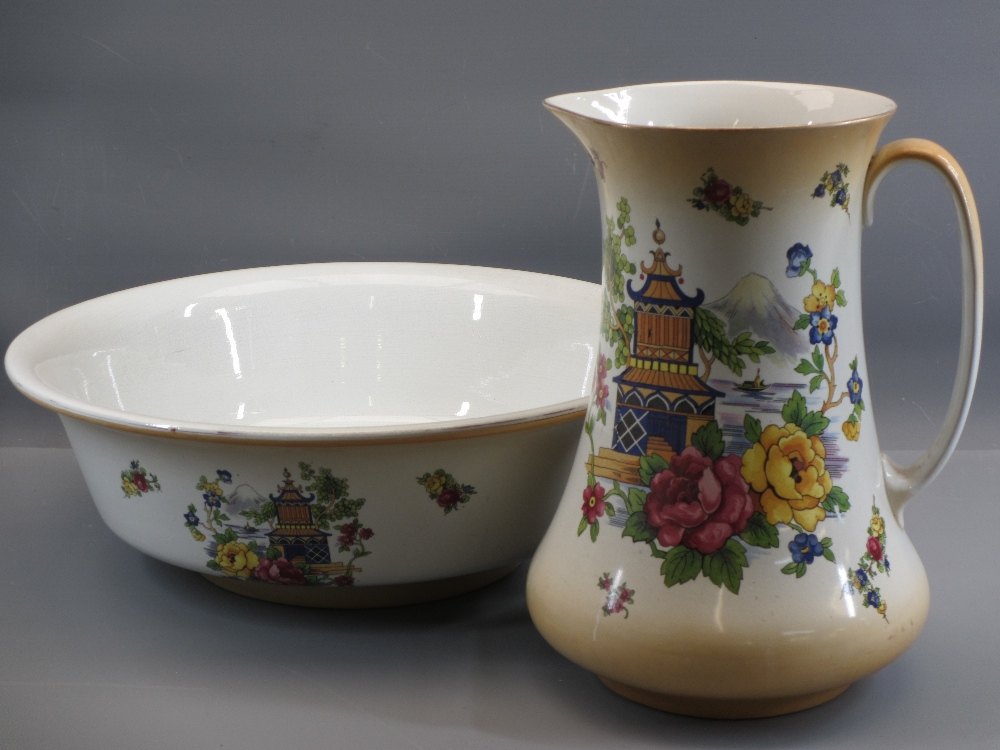 VICTORIAN JUG & BASIN SETS, a pair of Majolica type vases, 31cms tall, ETC - Image 3 of 4