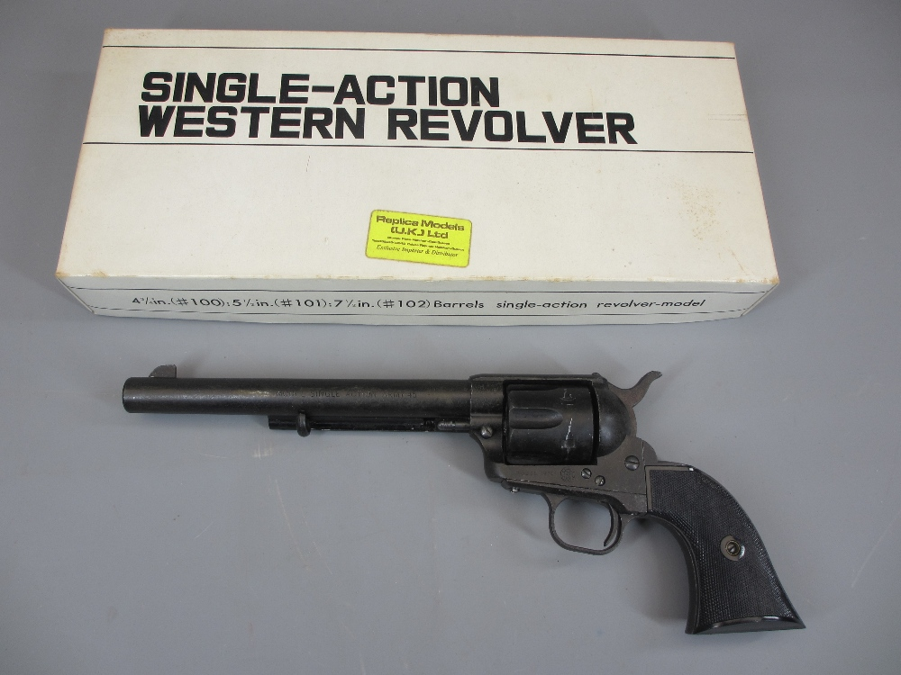 REPLICA MODELS SINGLE ACTION ARMY 45 WESTERN REVOLVER - boxed model 1974, 32.5cms overall L