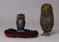 SILVER SAMPSON MORDAN & CO NOVELTY OWL PIN CUSHION and a vintage brass owl set with semi-precious