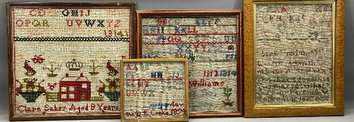 SAMPLERS - Woolwork examples, 19th century and later (4), 30 x 32cms (the largest)