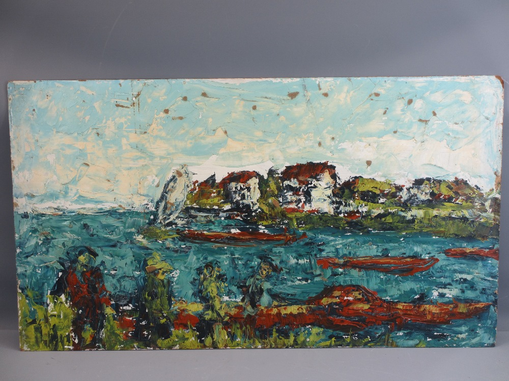 INDISTINCTLY SIGNED acrylics on board (2) - Impressionistic coastal views, 46 x 81cms and 46 x - Image 2 of 3