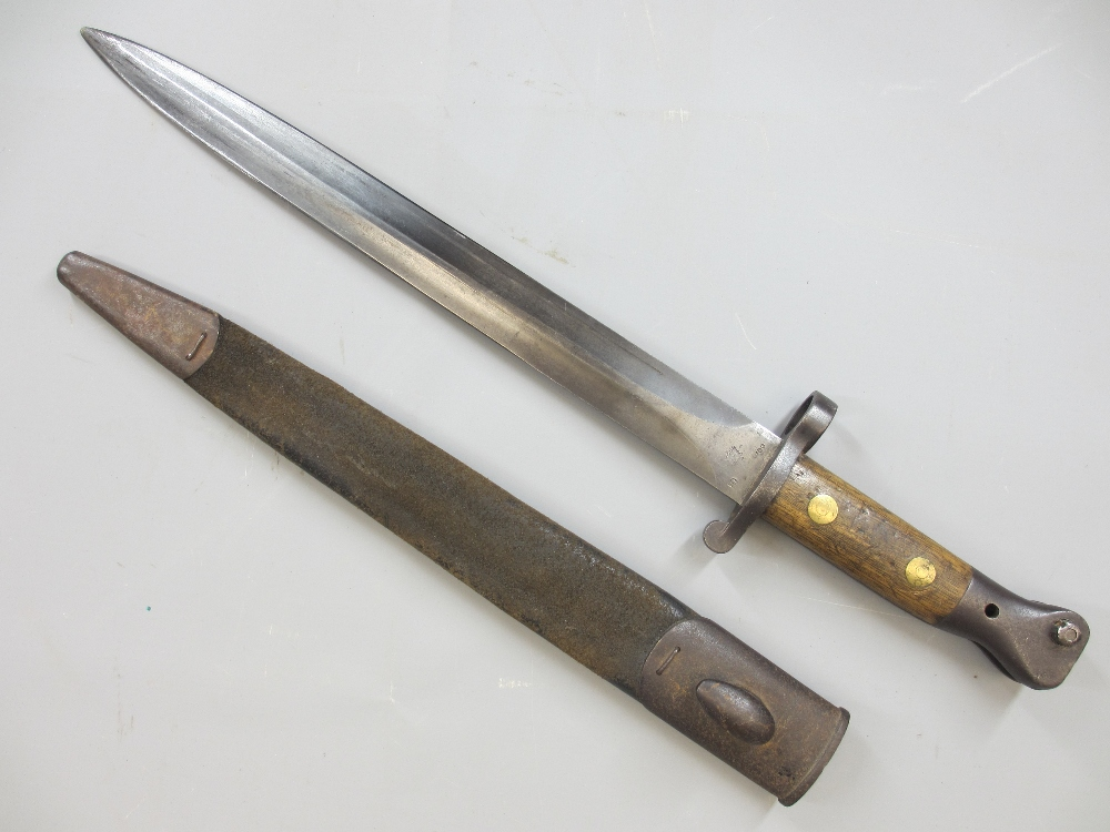 ENFIELD P 1888 DOUBLE EDGED BLADE BAYONET with metal mounted leather scabbard, blade stamped with