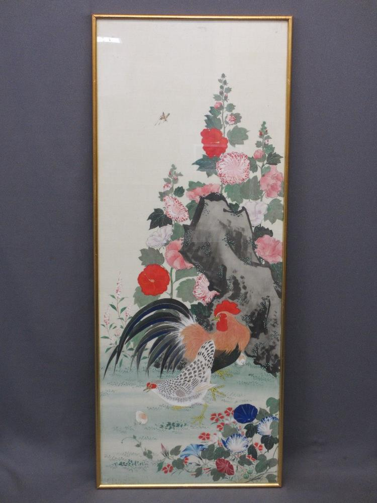 ORIENTAL PAINTED SILKWORK PANEL - depicting a cockerel and hen with chicks before a floral adorned