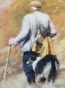 KEITH BOWEN limited edition print 1992, 273/850 - a farmer with a dog, signed in pencil, 38 x 29cms