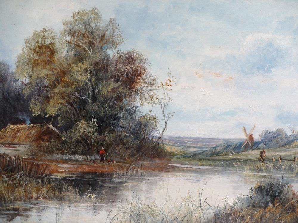 UNSIGNED OILS CIRCA 1900s, a pair - rural scenes featuring figures, thatched buildings along river