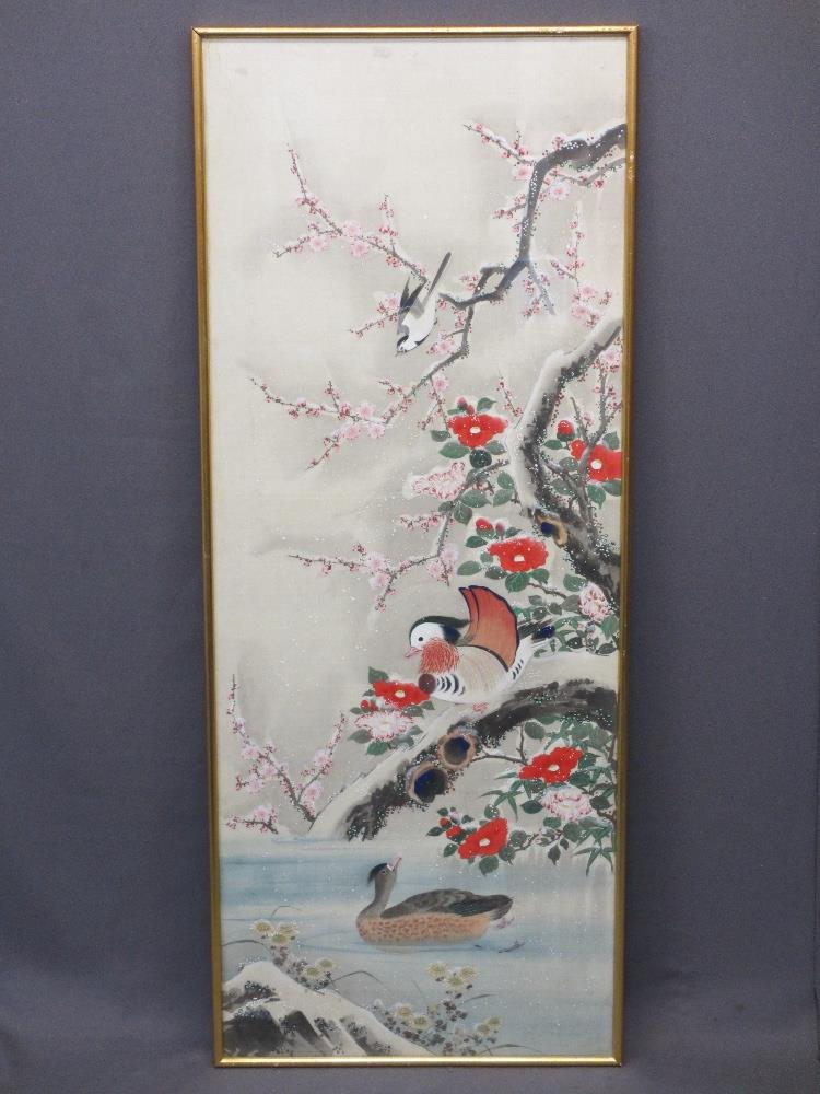 LARGE ORIENTAL PAINTED PANEL - birds amongst snowy blossom filled branches, mounted behind glass
