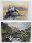 WILLIAM SELWYN limited edition prints (2) 218/300 - farmer and tractor, 33.5 x 42.5 and Snowdonia